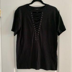 F21 Black Lace-Up T-Shirt